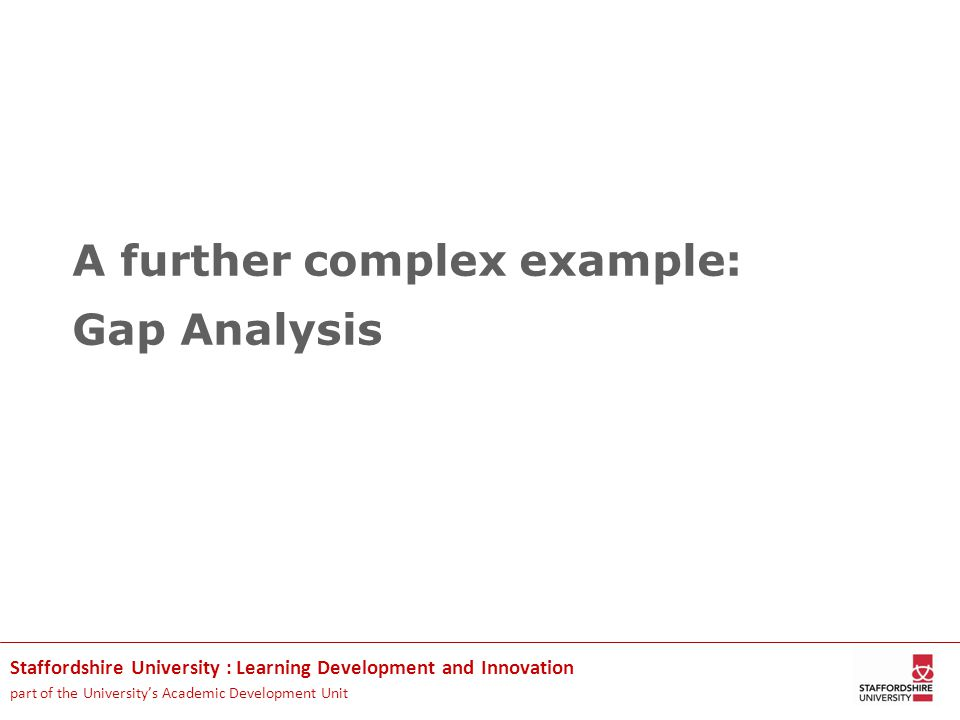 Staffordshire University : Learning Development and Innovation part of the University's Academic Development Unit A further complex example: Gap Analysis