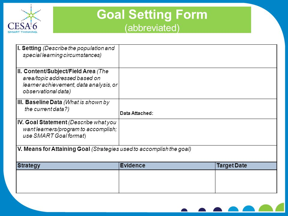 Goal Setting Form (abbreviated) I.