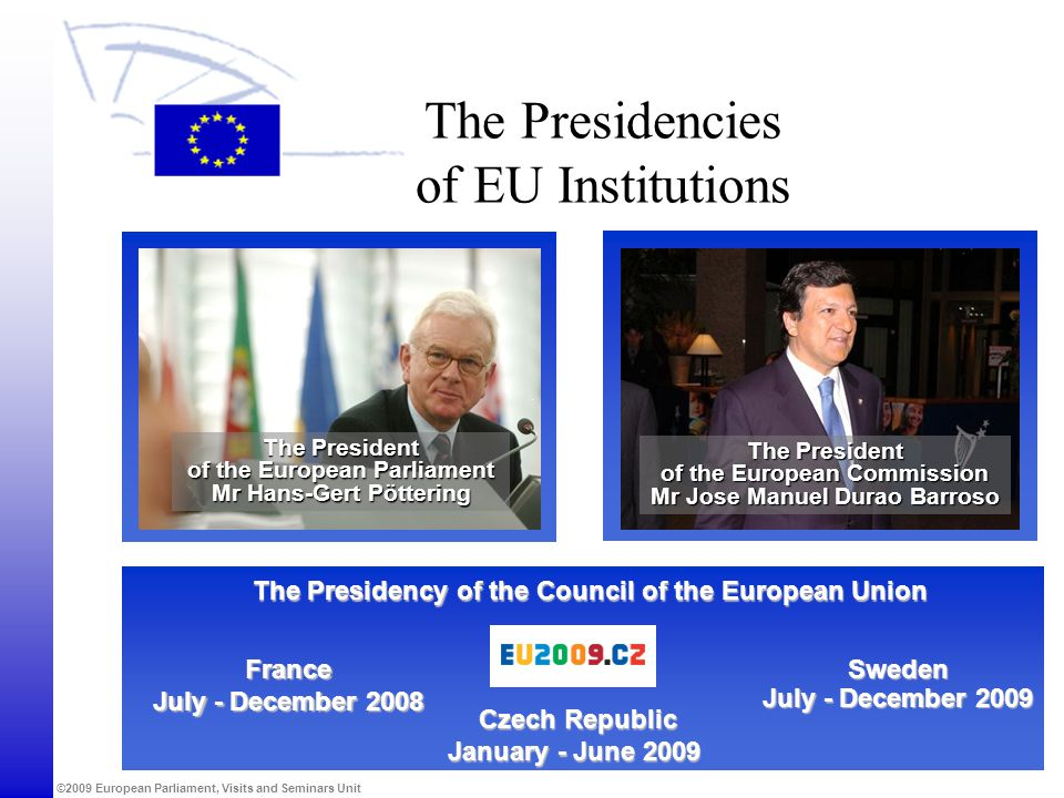 ©2009 European Parliament, Visits and Seminars Unit The Presidencies of EU Institutions The Presidency of the Council of the European Union Sweden Jul