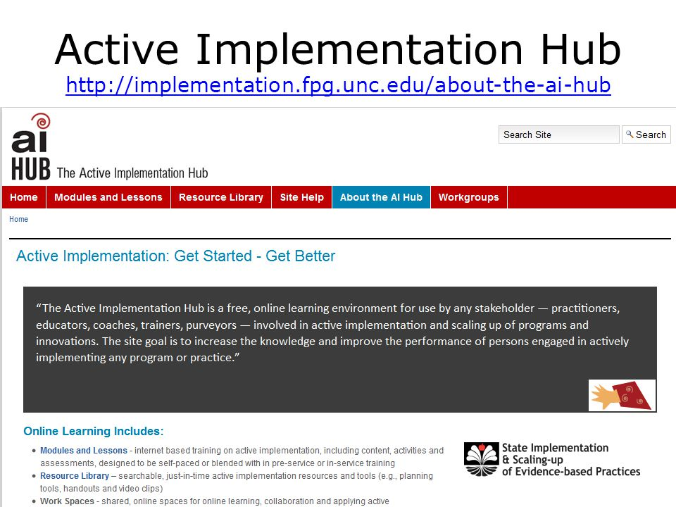 Active Implementation Hub http://implementation.fpg.unc.edu/about-the-ai-hub