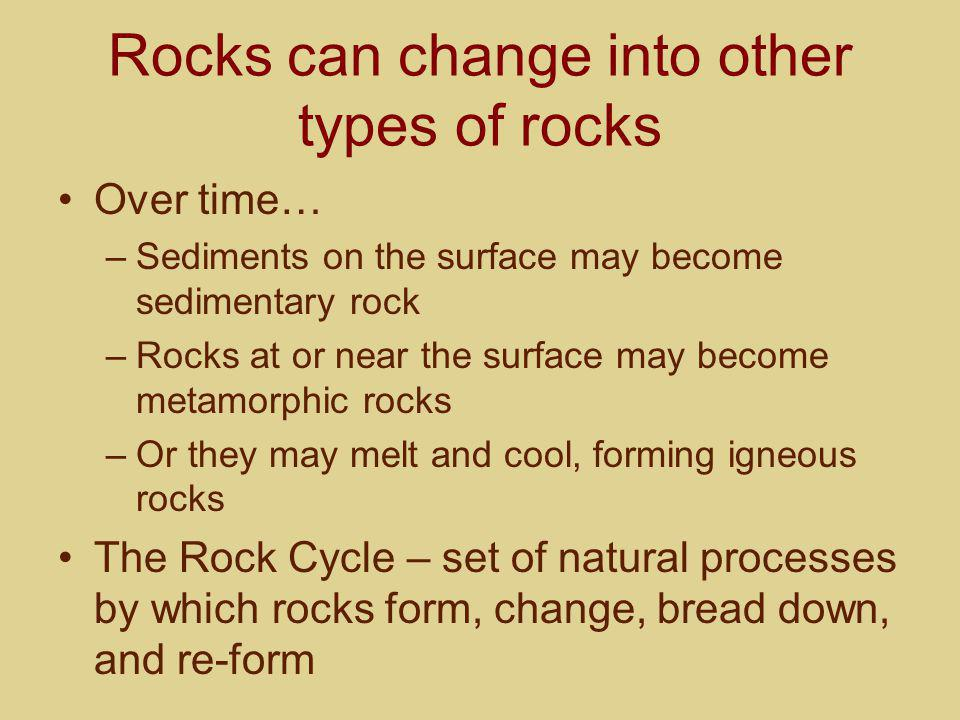 Rocks can change into other types of rocks Over time… –Sediments on the surface may become sedimentary rock –Rocks at or near the surface may become m
