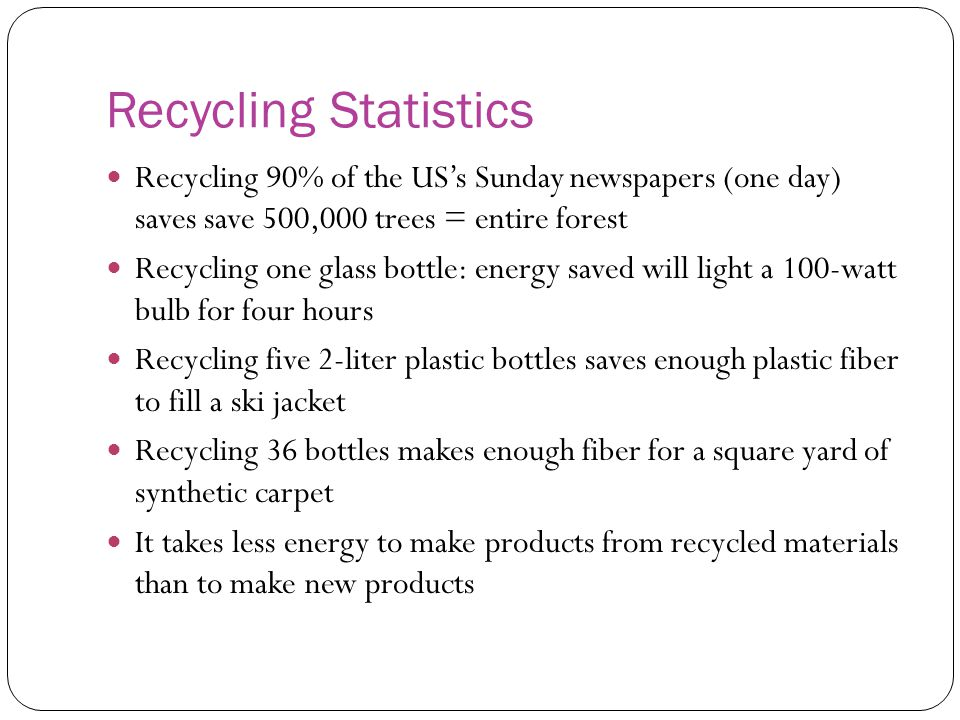 Recycling Statistics Recycling 90% of the US's Sunday newspapers (one day) saves save 500,000 trees = entire forest Recycling one glass bottle: energy