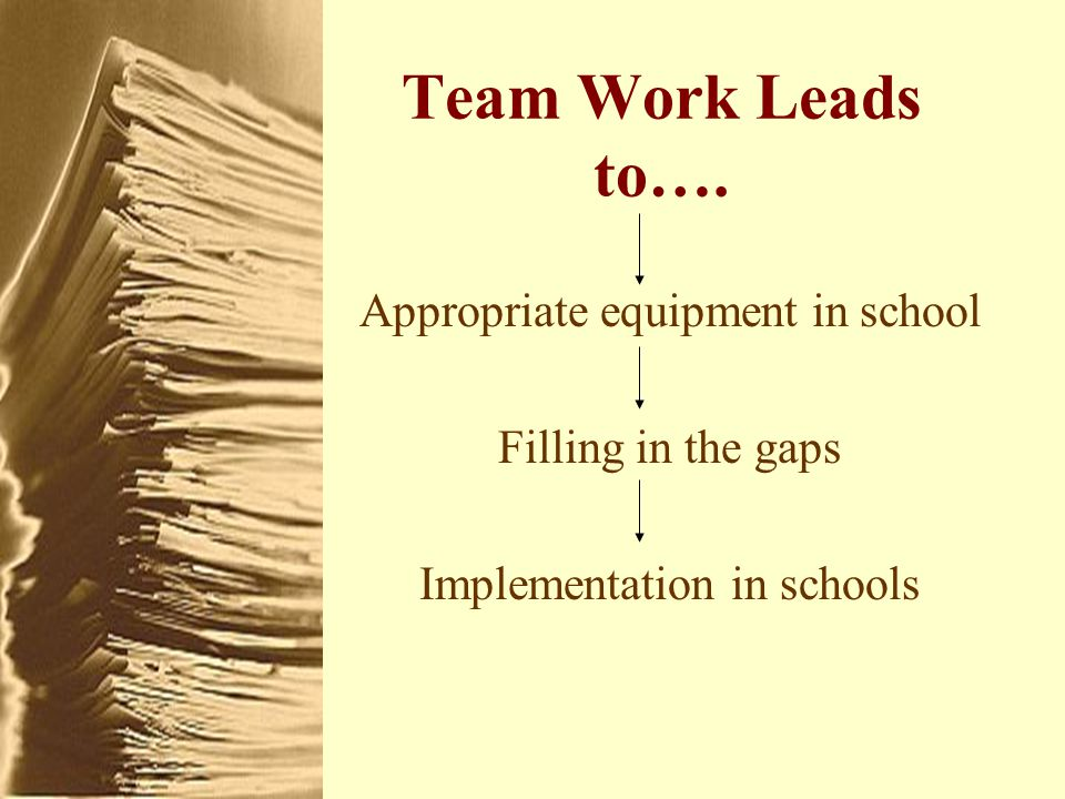 Team Work Leads to…. Appropriate equipment in school Filling in the gaps Implementation in schools