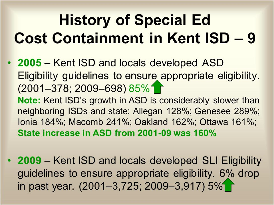 History of Special Ed Cost Containment in Kent ISD – 9 2005 – Kent ISD and locals developed ASD Eligibility guidelines to ensure appropriate eligibility.