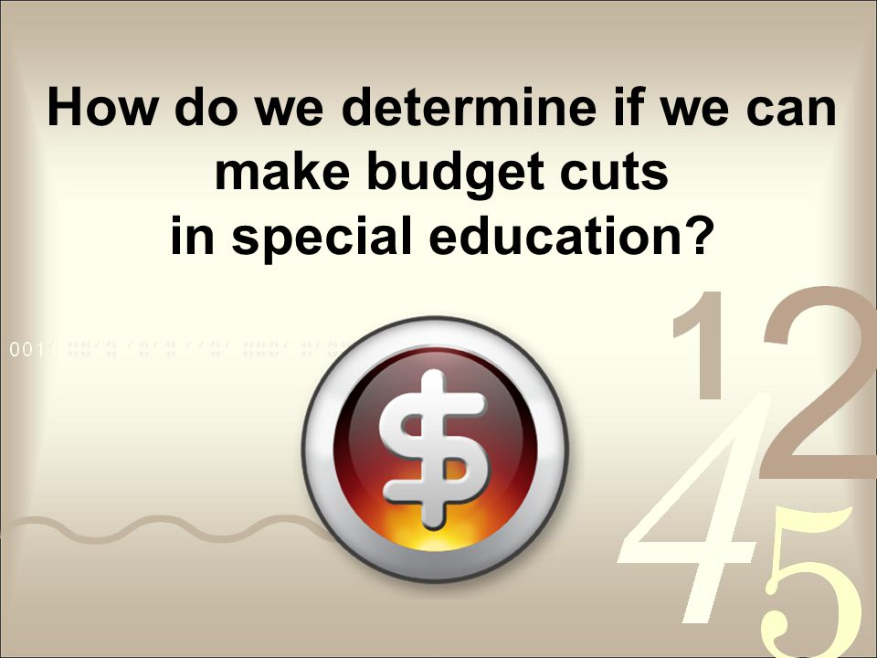 How do we determine if we can make budget cuts in special education