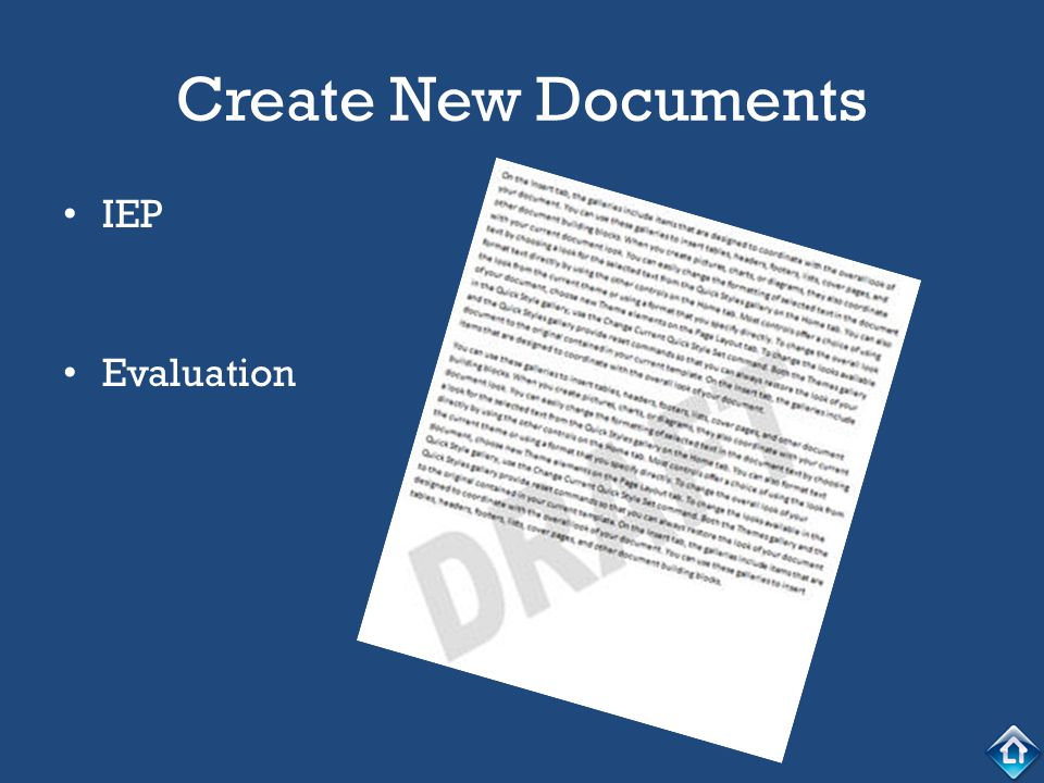 Create New Documents IEP Evaluation