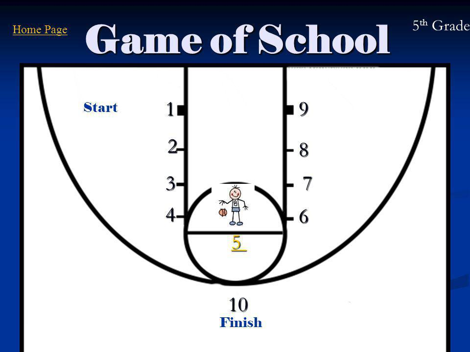 Game of School 1 3 4 55556 7 8 9 10 Start Finish Home Page2 5 th Grade