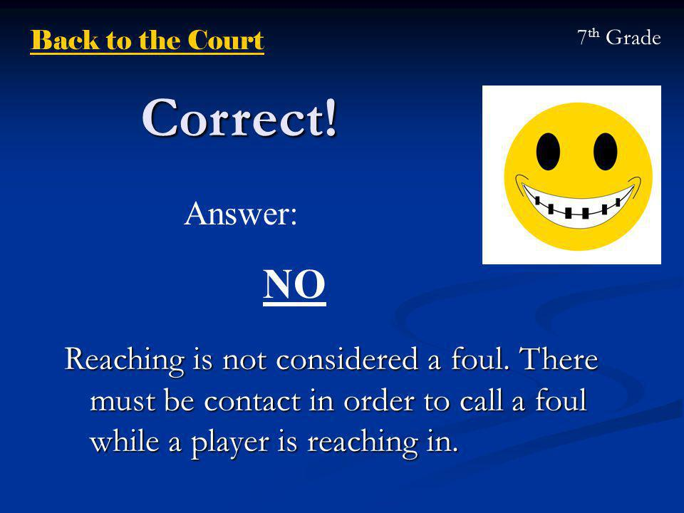 Correct. Reaching is not considered a foul.
