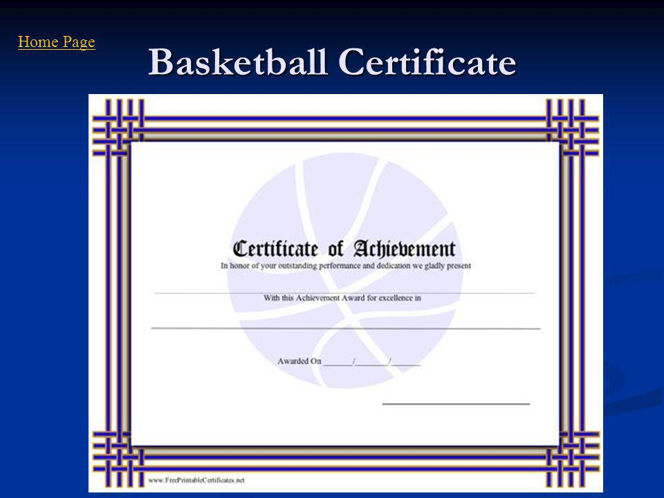 Basketball Certificate Home Page