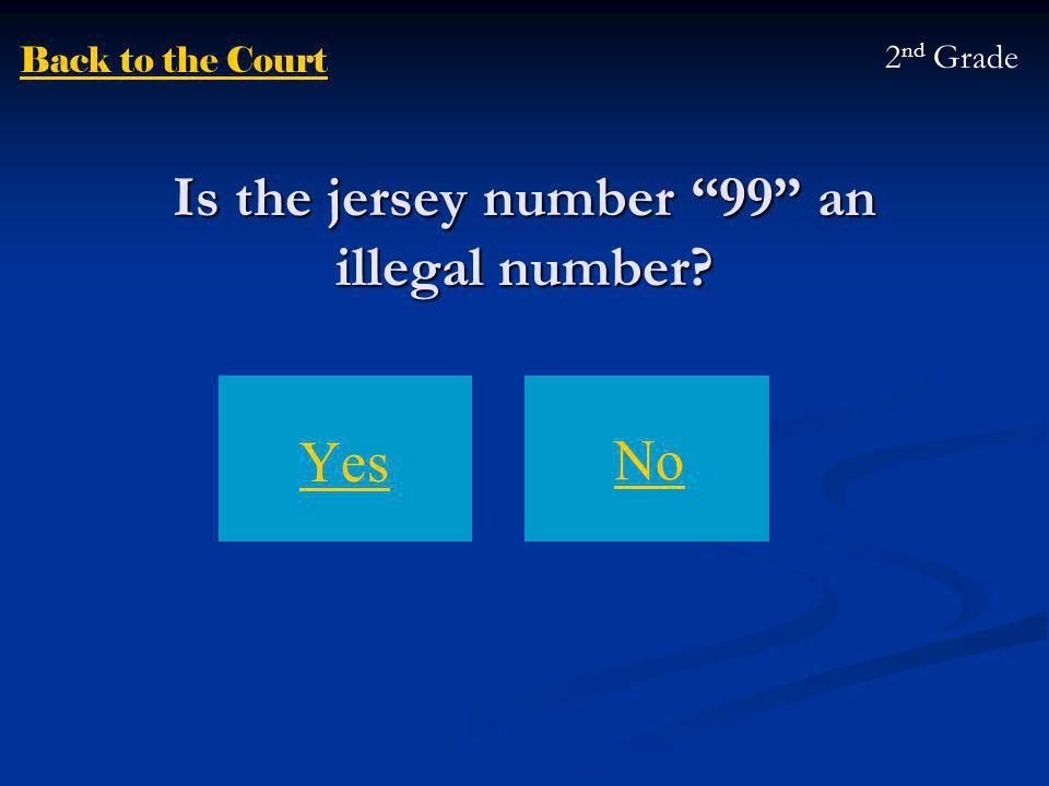 Is the jersey number 99 an illegal number Yes No 2 nd Grade Back to the Court