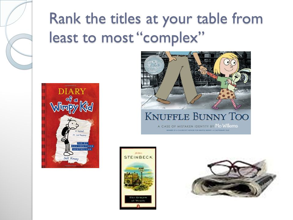 Rank the titles at your table from least to most complex
