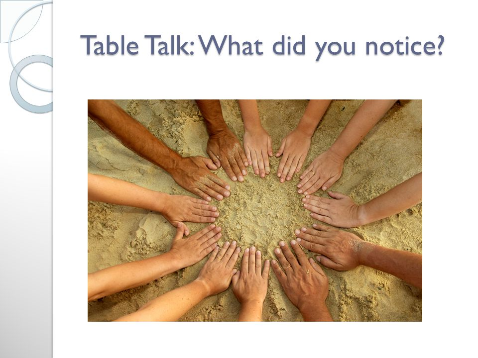 Table Talk: What did you notice