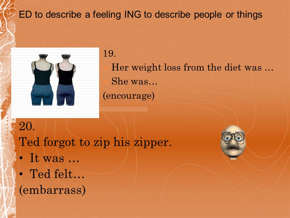 19. Her weight loss from the diet was … She was… (encourage) 20.