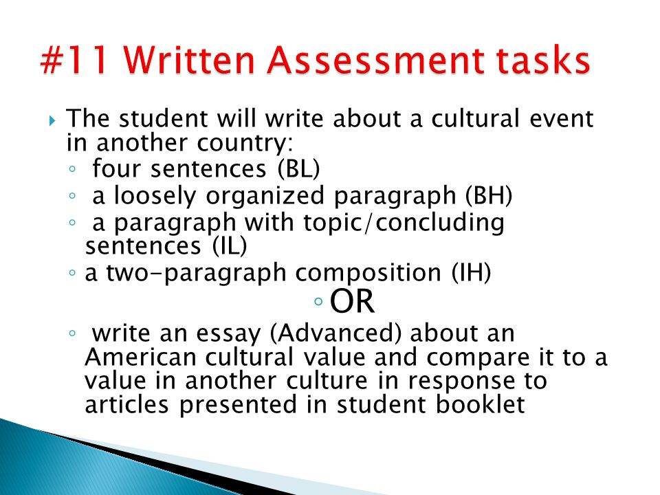  The student will write about a cultural event in another country: ◦ four sentences (BL) ◦ a loosely organized paragraph (BH) ◦ a paragraph with topic/concluding sentences (IL) ◦ a two-paragraph composition (IH) ◦ OR ◦ write an essay (Advanced) about an American cultural value and compare it to a value in another culture in response to articles presented in student booklet