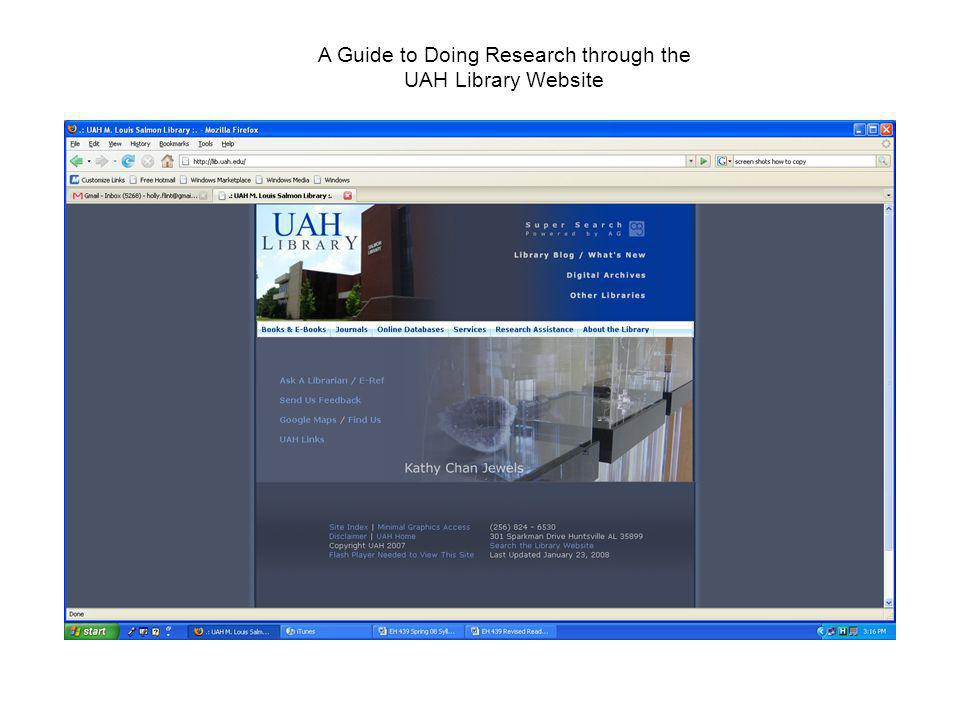 A Guide to Doing Research through the UAH Library Website