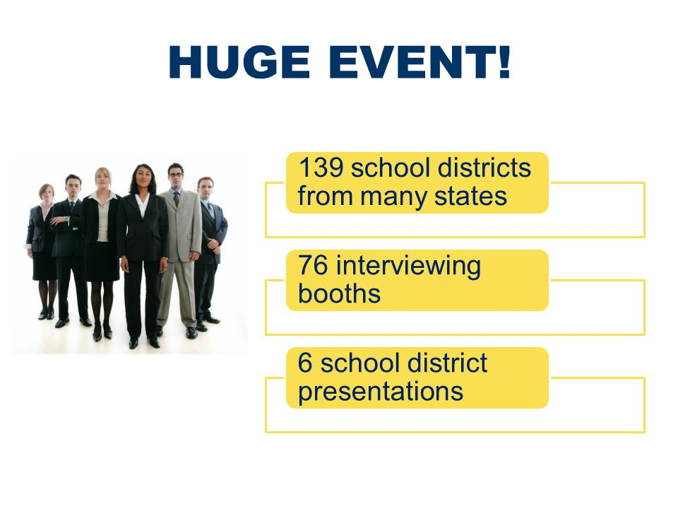 HUGE EVENT! 139 school districts from many states 76 interviewing booths 6 school district presentations