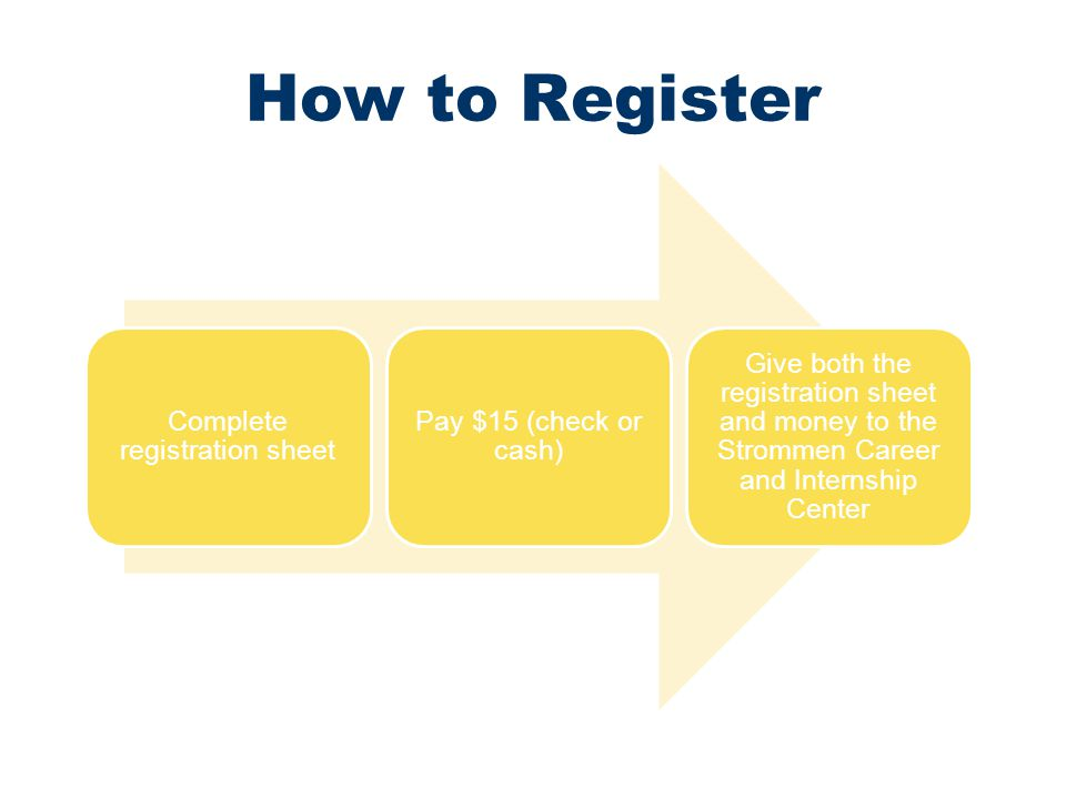 How to Register Complete registration sheet Pay $15 (check or cash) Give both the registration sheet and money to the Strommen Career and Internship C