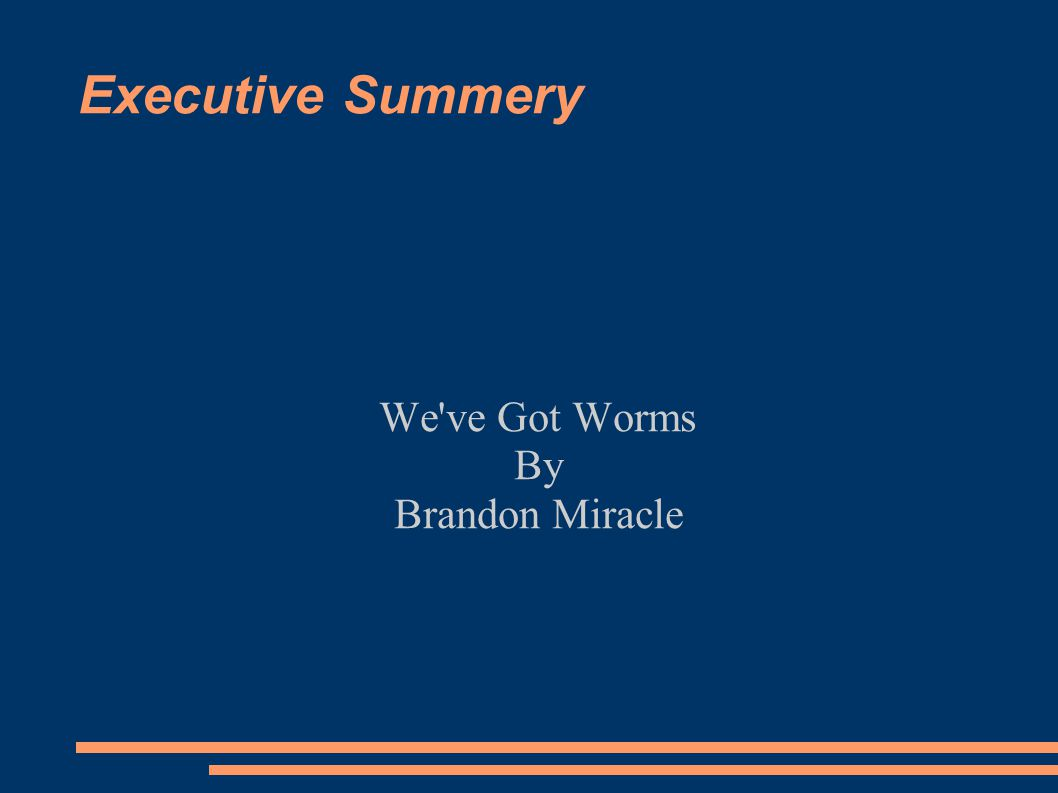 Executive Summery We've Got Worms By Brandon Miracle