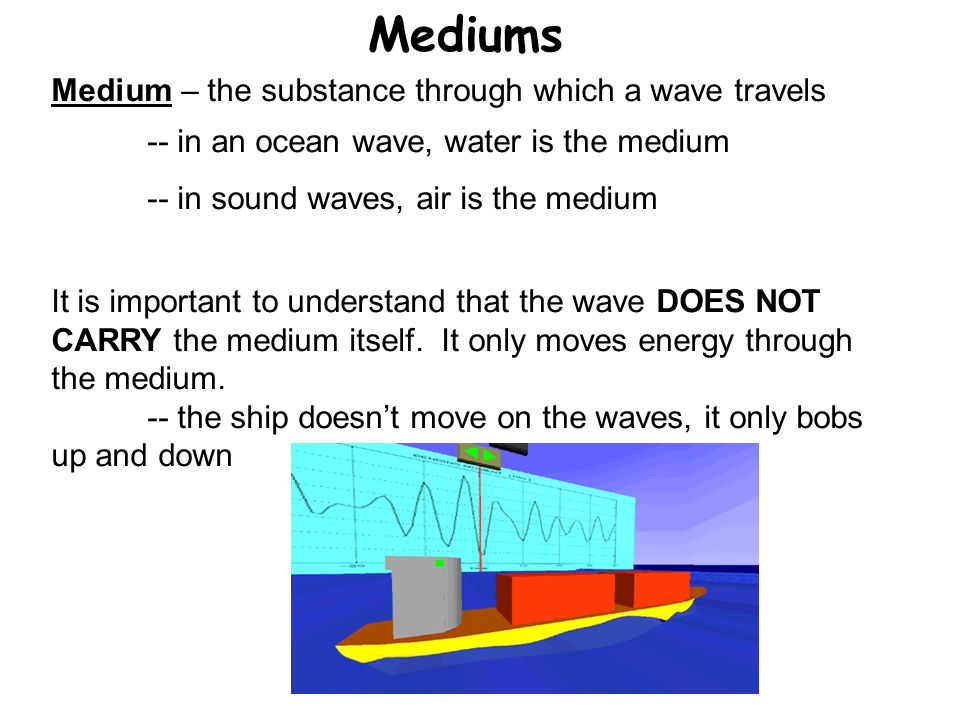 Mediums Medium – the substance through which a wave travels -- in an ocean wave, water is the medium -- in sound waves, air is the medium It is import