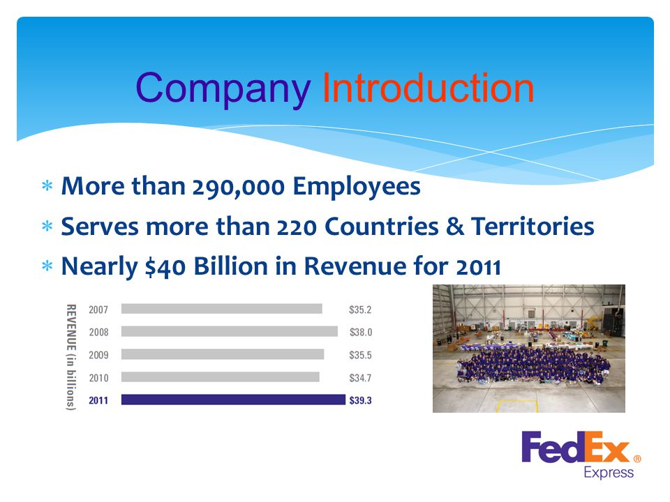 Company Introduction  More than 290,000 Employees  Serves more than 220 Countries & Territories  Nearly $40 Billion in Revenue for 2011