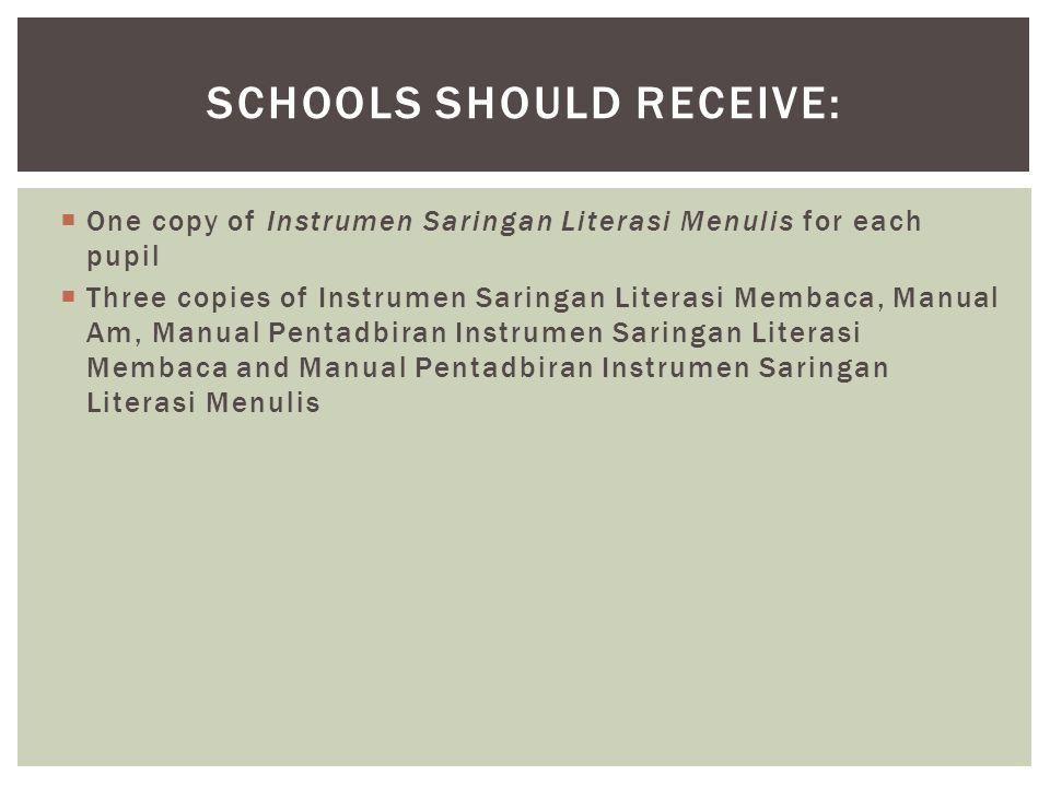  One copy of Instrumen Saringan Literasi Menulis for each pupil  Three copies of Instrumen Saringan Literasi Membaca, Manual Am, Manual Pentadbiran