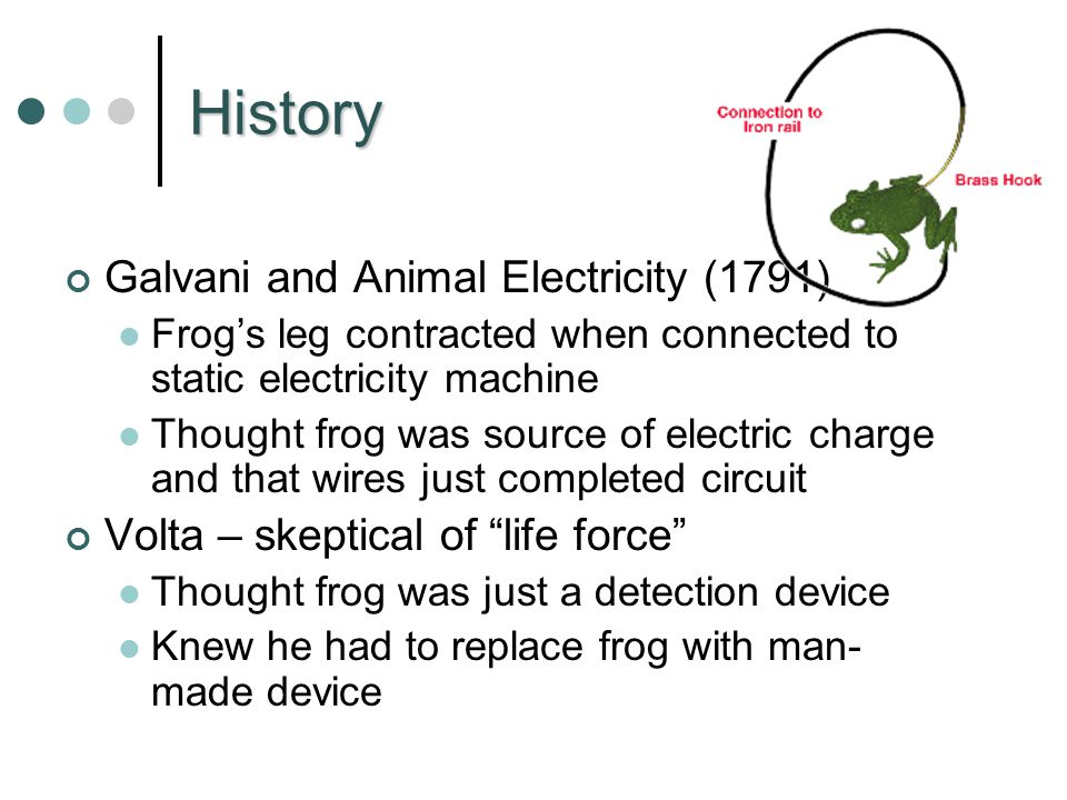 History Galvani and Animal Electricity (1791) Frog's leg contracted when connected to static electricity machine Thought frog was source of electric charge and that wires just completed circuit Volta – skeptical of life force Thought frog was just a detection device Knew he had to replace frog with man- made device