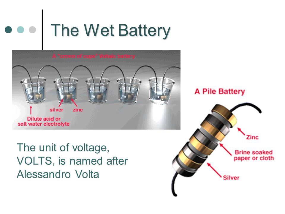 The Wet Battery The unit of voltage, VOLTS, is named after Alessandro Volta