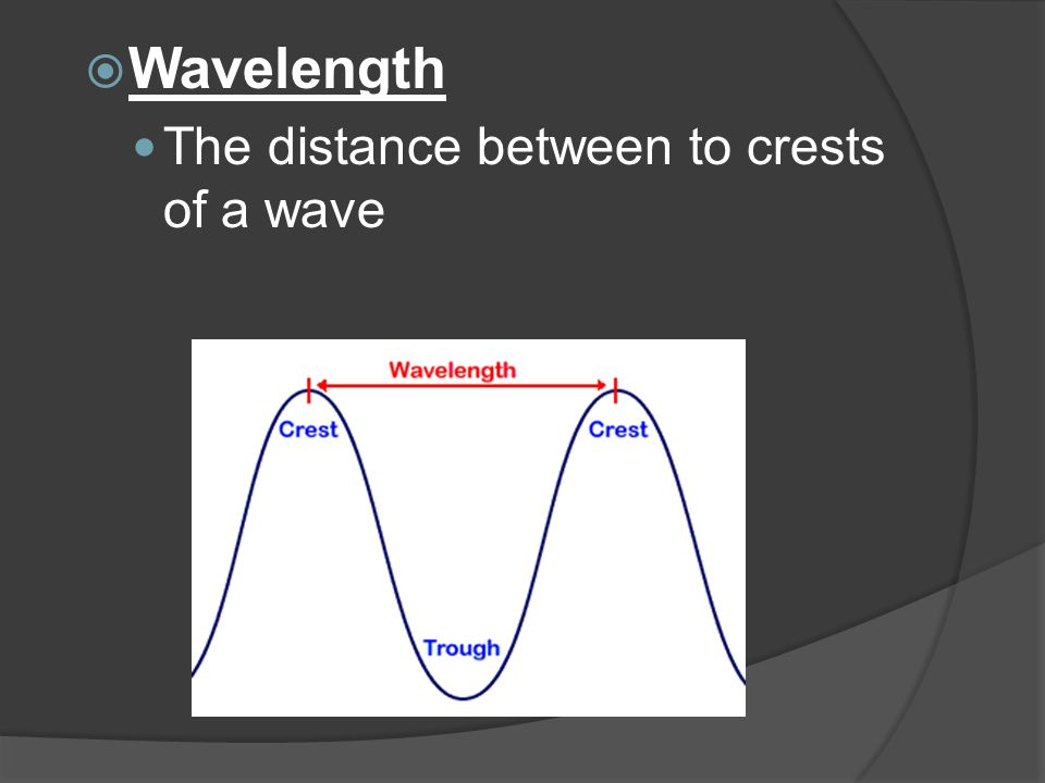  Frequency A count of the number of crests that pass a point in a given amount of time High frequency = high energy