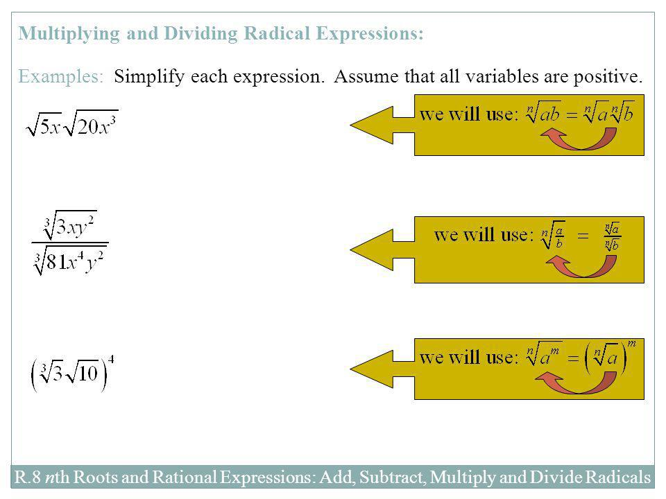 R.8 nth Roots and Rational Expressions: Add, Subtract, Multiply and Divide Radicals Multiplying and Dividing Radical Expressions: Examples: Simplify e