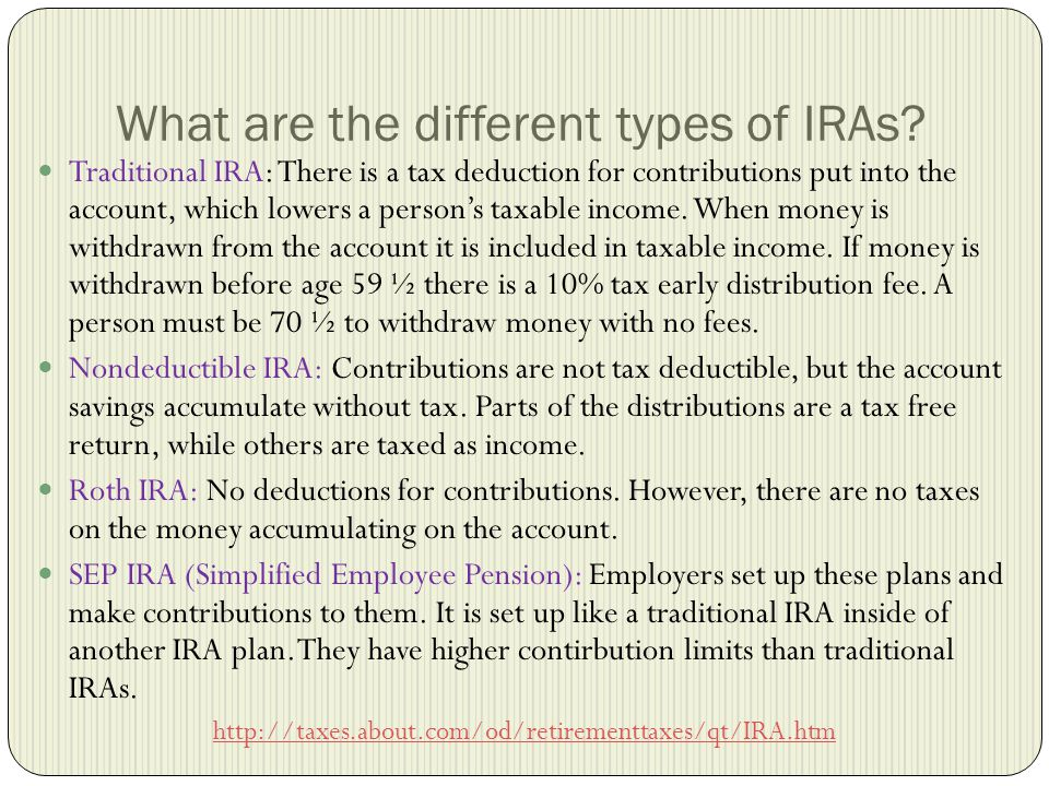 What are the different types of IRAs.