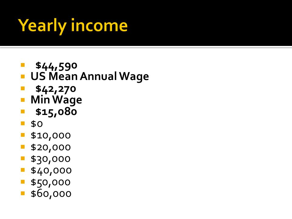  $44,590  US Mean Annual Wage  $42,270  Min Wage  $15,080  $0  $10,000  $20,000  $30,000  $40,000  $50,000  $60,000