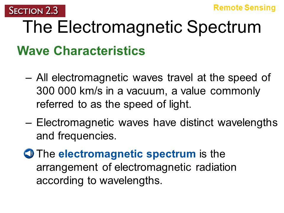 The Electromagnetic Spectrum Wave Characteristics Remote Sensing –All electromagnetic waves travel at the speed of 300 000 km/s in a vacuum, a value commonly referred to as the speed of light.