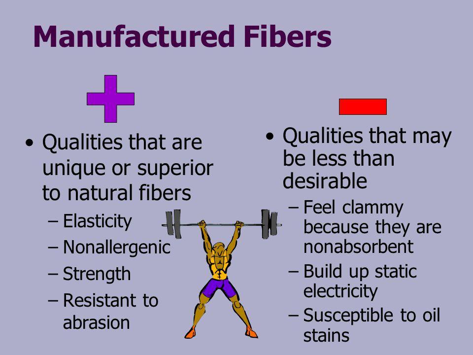 Manufactured Fibers Qualities that are unique or superior to natural fibers – –Elasticity – –Nonallergenic – –Strength – –Resistant to abrasion Qualit