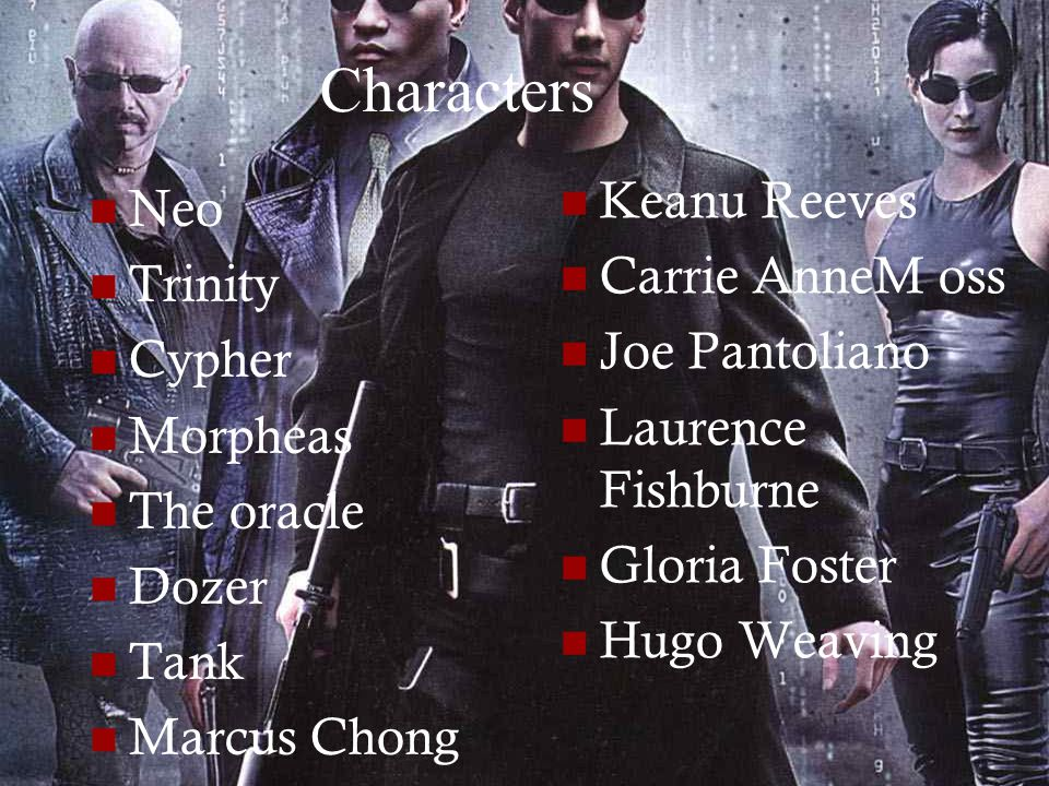 Characters Neo Trinity Cypher Morpheas The oracle Dozer Tank Marcus Chong Keanu Reeves Carrie AnneM oss Joe Pantoliano Laurence Fishburne Gloria Foster Hugo Weaving