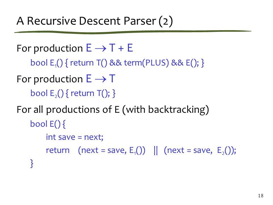 18 A Recursive Descent Parser (2) For production E  T + E bool E 1 () { return T() && term(PLUS) && E(); } For production E  T bool E 2 () { return T(); } For all productions of E (with backtracking) bool E() { int save = next; return (next = save, E 1 ()) || (next = save, E 2 ()); }