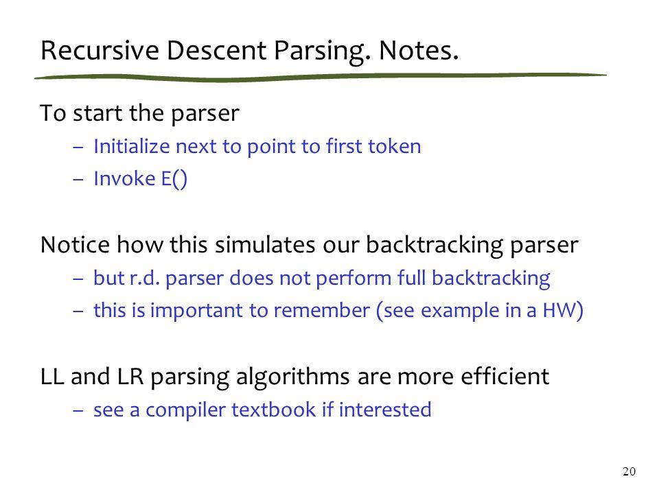20 Recursive Descent Parsing. Notes.