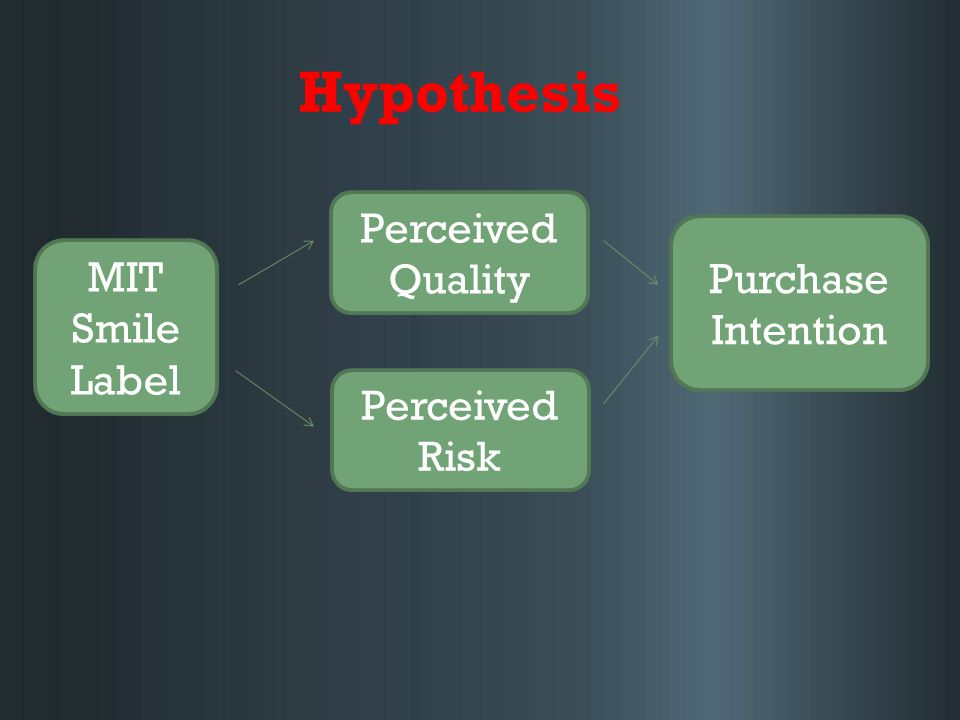 Hypothesis Perceived Quality Perceived Risk Purchase Intention MIT Smile Label