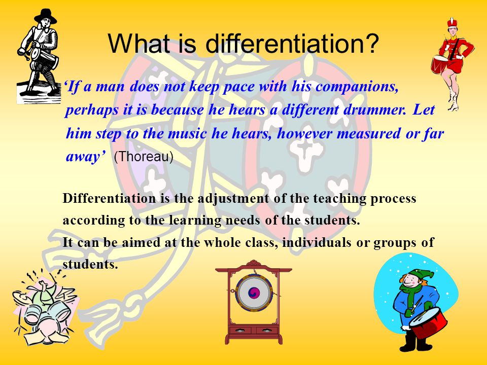 TS4,5 Aims To learn eight different methods of differentiating work To consider the needs of different types of learners in your classroom To have a go at differentiating tasks