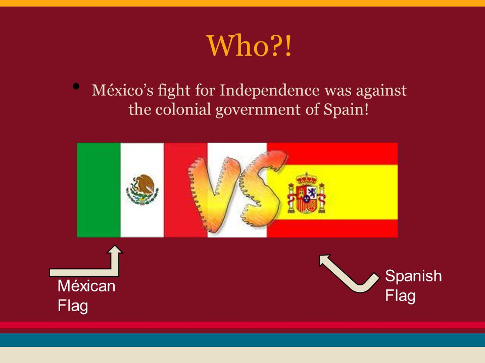 Who?. México's fight for Independence was against the colonial government of Spain.