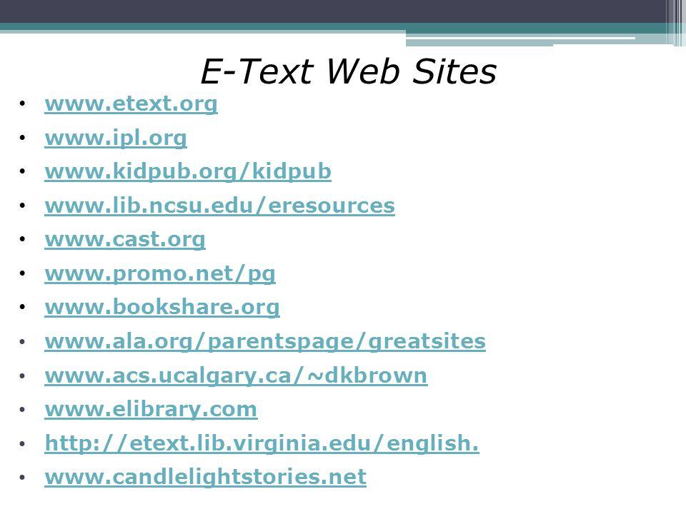 E-Text Web Sites www.etext.org www.ipl.org www.kidpub.org/kidpub www.lib.ncsu.edu/eresources www.cast.org www.promo.net/pg www.bookshare.org www.ala.o