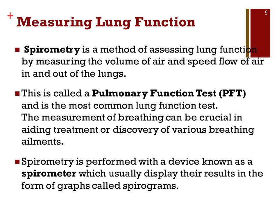 Copyright © The McGraw-Hill Companies, Inc. + Measuring Lung Function Spirometry is a method of assessing lung function by measuring the volume of air
