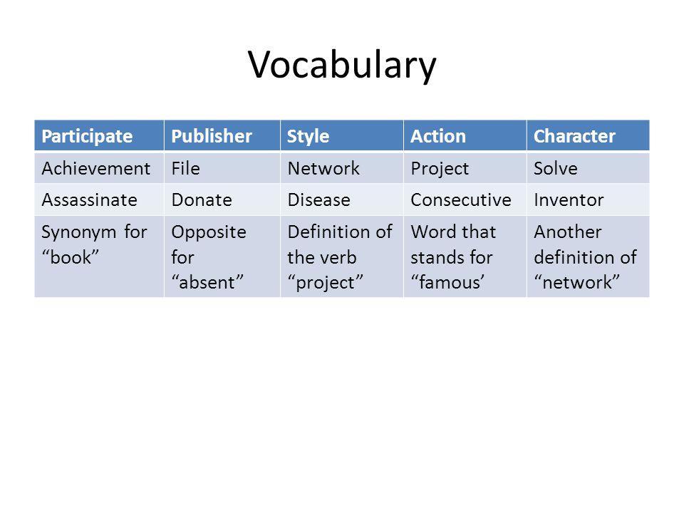 """Vocabulary ParticipatePublisherStyleActionCharacter AchievementFileNetworkProjectSolve AssassinateDonateDiseaseConsecutiveInventor Synonym for """"book"""""""