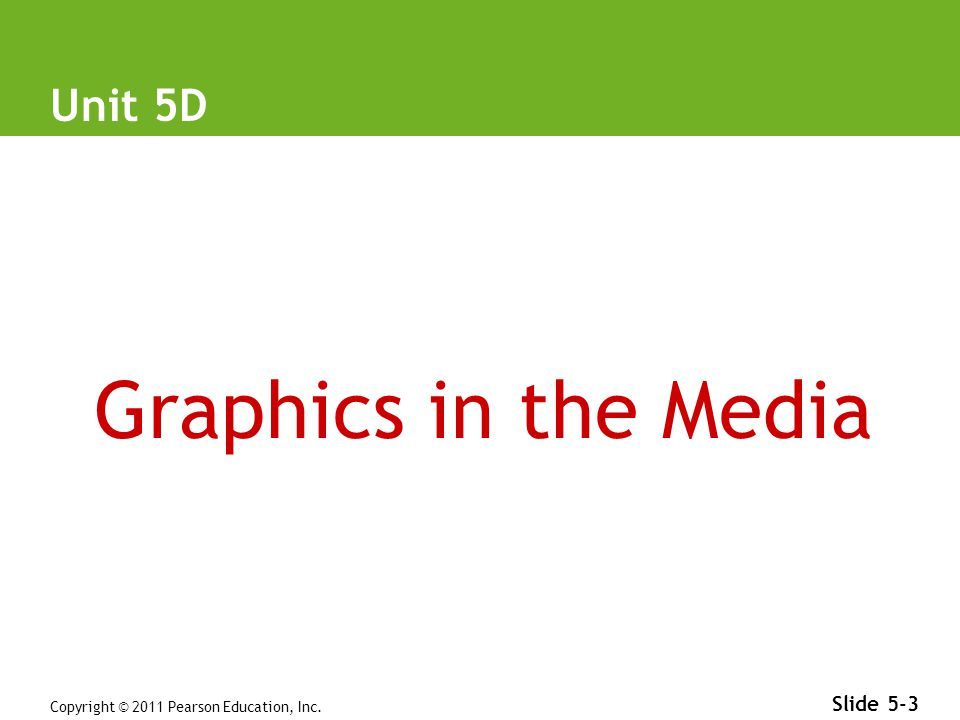 Copyright © 2011 Pearson Education, Inc. Slide 5-3 Unit 5D Graphics in the Media