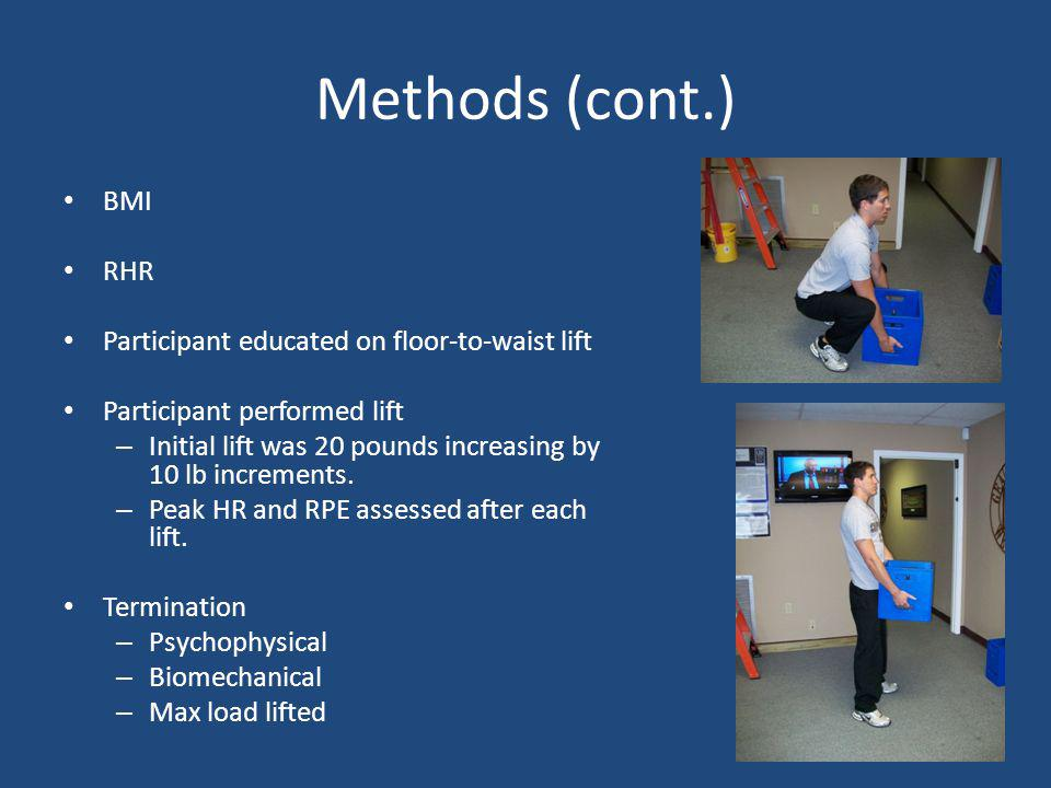 Methods (cont.) BMI RHR Participant educated on floor-to-waist lift Participant performed lift – Initial lift was 20 pounds increasing by 10 lb increm