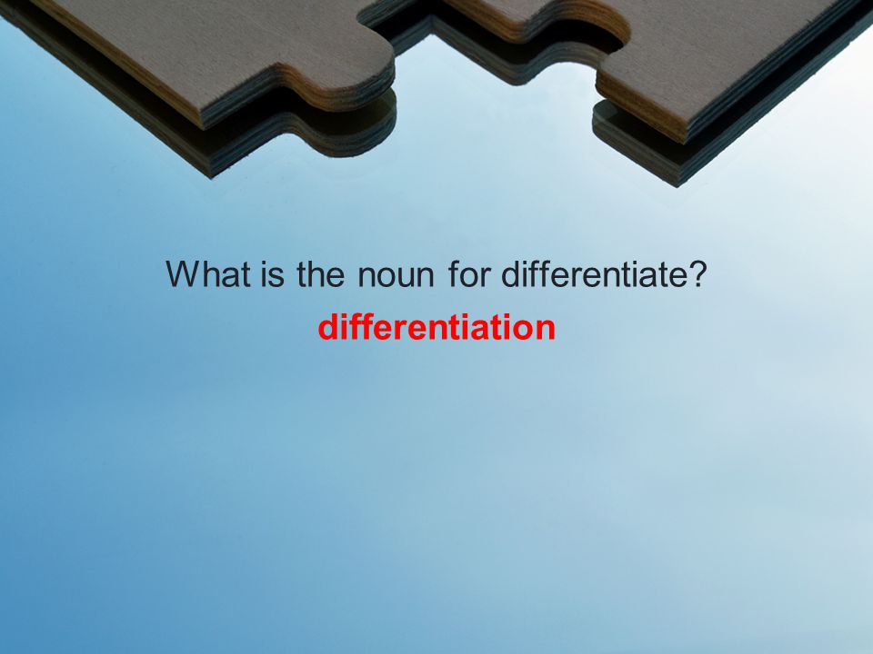 What is the noun for differentiate differentiation