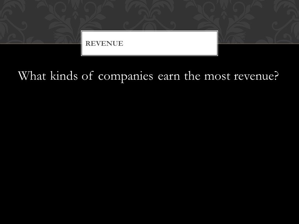 What kinds of companies earn the most revenue REVENUE