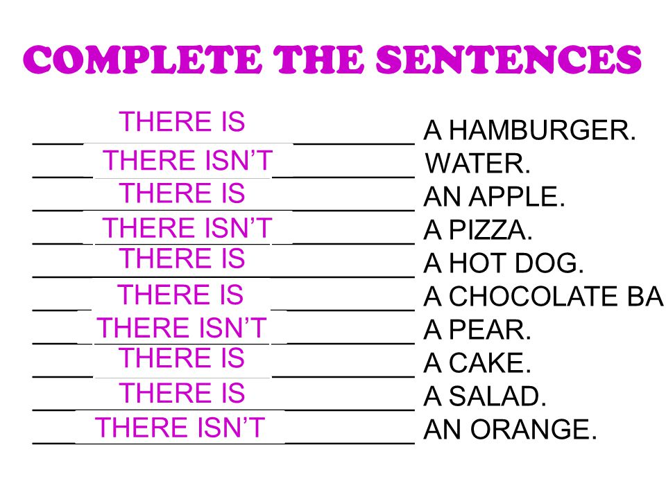 COMPLETE THE SENTENCES _________________________ A HAMBURGER.