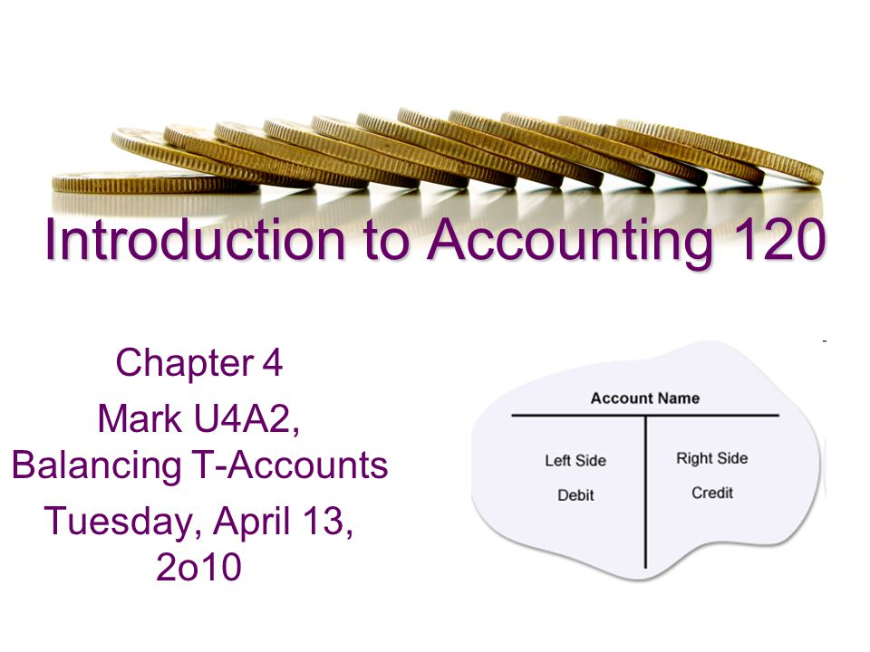 In Today's Class REMINDER: U4A1 OVERDUE Mark U4A2 in class Move on with Balancing T- Account Lecture and Presentation