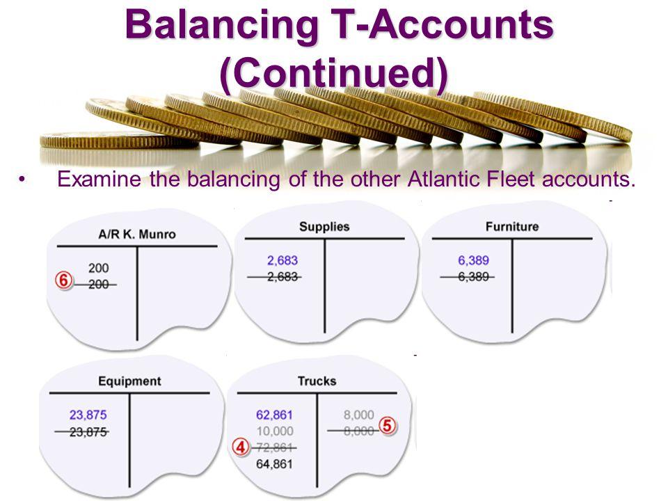 Balancing T-Accounts (Continued) Balancing T-Accounts (Continued) Examine the balancing of the other Atlantic Fleet accounts.