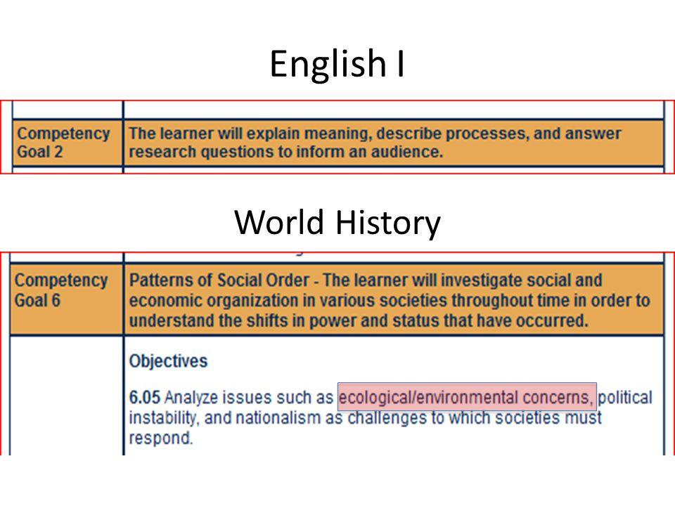 English I World History